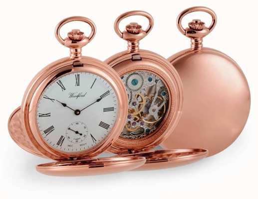 Woodford Relógio de bolso mecânico duplo de ouro caçador de ouro 1093