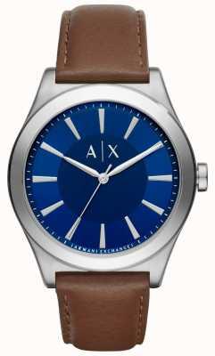 Armani Exchange Correia de couro marrom para homens caixa de aço inoxidável de discagem azul AX2324