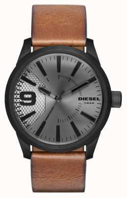 Diesel Correia de couro marrom para homem estojo preto em prata DZ1764