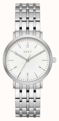 DKNY Aliança de malha de prata em aço inoxidável Womans NY2502