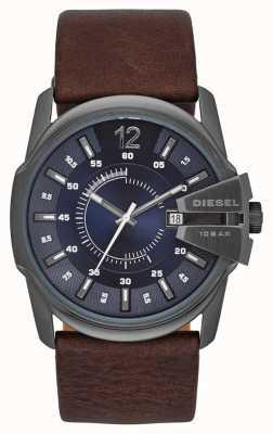 Diesel Maquinário chefe de marcação azul pulseira de couro marrom DZ1618