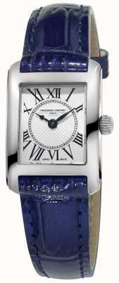 Frederique Constant Womens carree faixa de couro azul mostrador prata FC-200MC16
