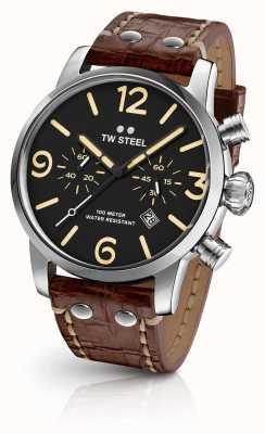 TW Steel Cronômetro despreocupível para homens Correia de couro marrom mostrador preto MS3