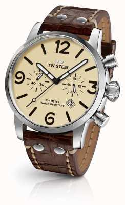 TW Steel Cronômetro despreocupente para homens, cinta de couro marrom, mostrador de creme MS23