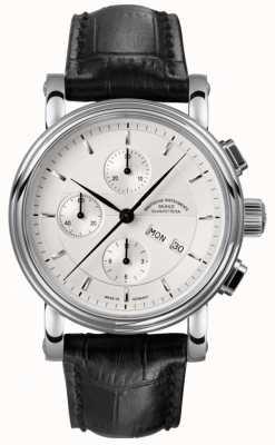 Muhle Glashutte Teutonia ii cronógrafo pulseira de couro mostrador prateado M1-30-95-LB