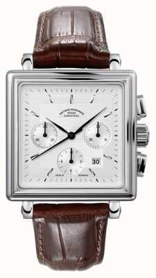 Muhle Glashutte Teutonia ii quadrante cronógrafo pulseira de couro mostrador prateado M1-33-35-LB
