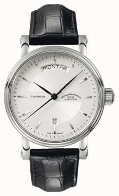 Muhle Glashutte Tag Teutonia ii / pulseira de couro datum mostrador prata M1-33-65-LB