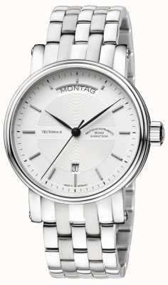 Muhle Glashutte Tag Teutonia ii / pulseira de aço inoxidável datum mostrador prateado M1-33-65-MB