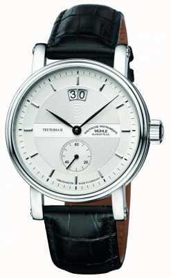 Muhle Glashutte Teutonia ii grossdatum cronômetro pulseira de couro mostrador prateado M1-33-75-LB