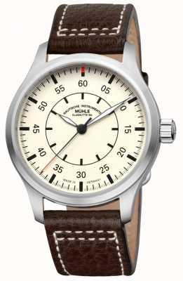 Muhle Glashutte Terrasport i observador pulseira de couro mostrador creme M1-37-37/4-LB