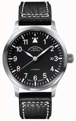 Muhle Glashutte Mostrador preto com pulseira de couro Terrasport ii M1-37-44-LB
