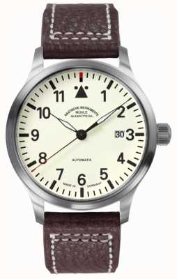 Muhle Glashutte Mostrador de pulseira de couro Terrasport ii creme M1-37-47-LB