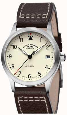 Muhle Glashutte Mostrador Terrasport iii pulseira de couro creme M1-37-87-LB