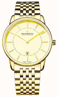 Dreyfuss Mens pulseira de ouro com data DGB00136/03