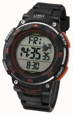 Limit Relógio desportivo de homem com bracelete preta, detalhe em laranja 5485.66