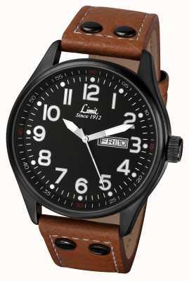 Limit Mens pulseira de couro marrom mostrador preto 5492.01
