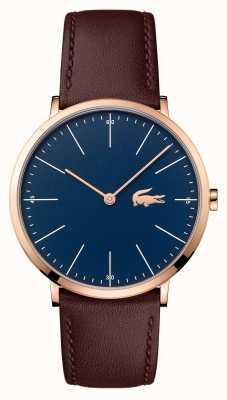 Lacoste Mens pulseira de couro marrom mostrador azul caso de ouro 2010871