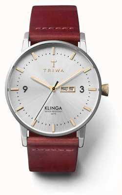 Triwa Unisex brilho klinga tan pulseira de couro mostrador prateado KLST104-CL010312