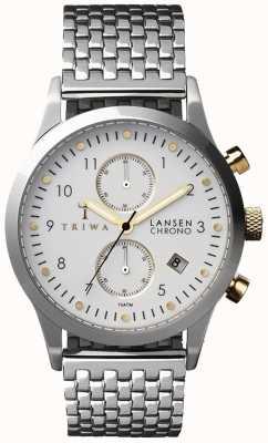 Triwa Mens marfim lansen pulseira de malha de prata branco cronógrafo LCST106-BR021212