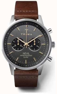 Triwa Mens smoky nevil marrom escuro pulseira de couro preto dial NEST114-CL010412
