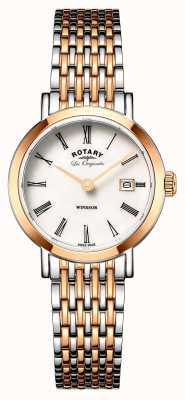 Rotary Womans windsor dois tons prata rosa pulseira de metal ouro LB90155/01