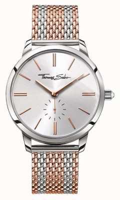 Thomas Sabo Espírito glamour da mulher dois tons pulseira de malha rosa de prata de ouro WA0273-283-201-33