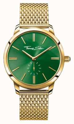 Thomas Sabo Womans glam espírito aço malha de ouro pulseira mostrador verde WA0275-264-211-33