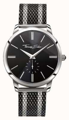 Thomas Sabo Mens rebelde espírito de dois tons pulseira de malha de aço mostrador preto WA0267-280-203-42