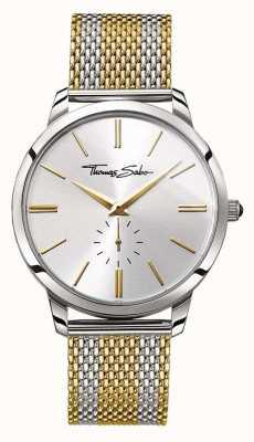 Thomas Sabo Mens rebelde espírito de dois tons de ouro pulseira de malha de aço dial prata WA0269-282-201-42