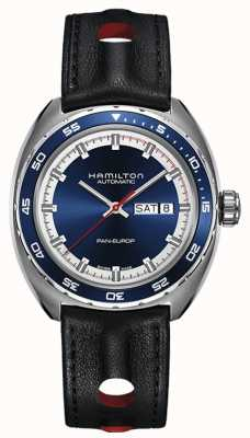 Hamilton Mens pan europeia pulseira de couro preto mostrador azul H35405741