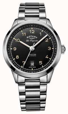 Rotary Mens pulseira de aço inoxidável automático preto de discagem tradição GB90184/19