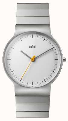 Braun Mens pulseira de aço inoxidável mostrador branco BN0211SLBTG