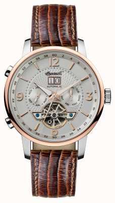 Ingersoll Mens 1892 a pulseira de couro marrom automático grafton I00701