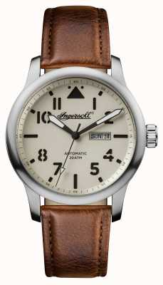 Ingersoll Mens descoberta a pulseira de couro marrom hatton mostrador branco I01301