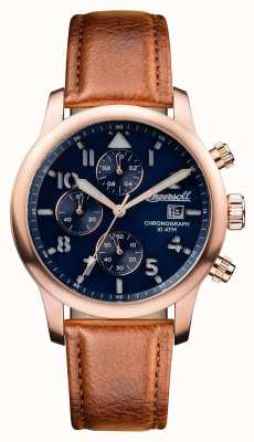Ingersoll Mens descoberta a pulseira de couro marrom hatton mostrador azul I01502