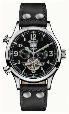 Ingersoll Mens descoberta a pulseira de couro preto armstrong mostrador preto I02102
