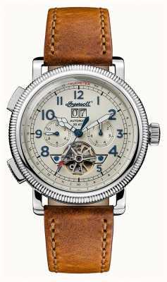 Ingersoll Mens descoberta a pulseira de couro marrom bloch mostrador bege I02601
