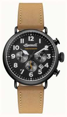 Ingersoll Mens chronicle a pulseira de couro marrom trenton preto discar I03502