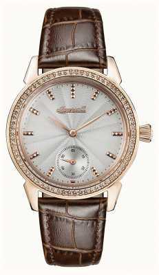 Ingersoll Crônica das mulheres a pulseira de couro marrom pulseira cinza I03702