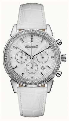 Ingersoll Crônica das mulheres a pulseira de couro branco gem pulseira branca I03901