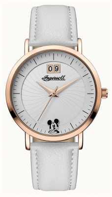 Disney By Ingersoll União das mulheres a disney pulseira de couro branco mostrador prateado ID00502