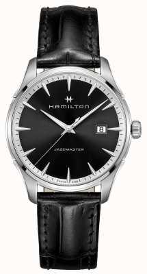 Hamilton Mens jazzmaster pulseira de couro preto mostrador preto H32451731
