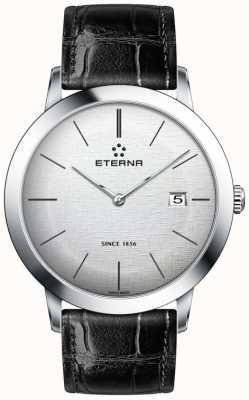 Eterna Mens quartzo prata escovado dial pulseira de couro preto 2710.41.10.1383