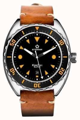 Eterna Mens super kontiki pulseira de couro marrom automática mostrador preto 1273.41.49.1363