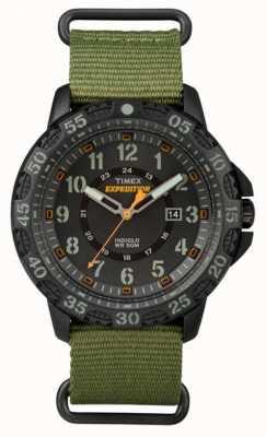 Timex Mens gallatin tecido verde pulseira de discagem preta TW4B03600