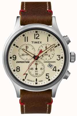 Timex Mens creme de mostrador de cronógrafo TW4B04300