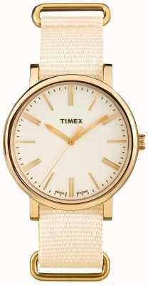 Timex Bracelete de tecido creme com marcação unisex TW2P88800