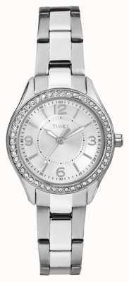 Timex Womans miami mini prata pulseira de aço inoxidável mostrador prateado TW2P79800