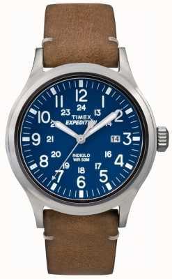Timex Mens Scout azul mostrador pulseira de couro marrom TW4B01800