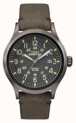 Timex Mens scout black dial pulseira de couro cinza TW4B01700